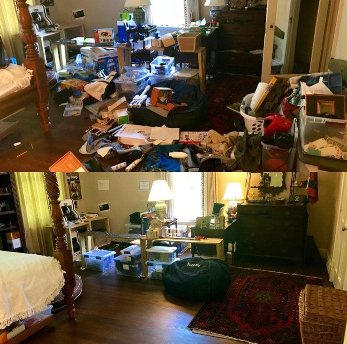 Imágenes de cuartos desordenados antes y después; habitación en la que no se puede caminar por el desorden; después dormitorio limpio