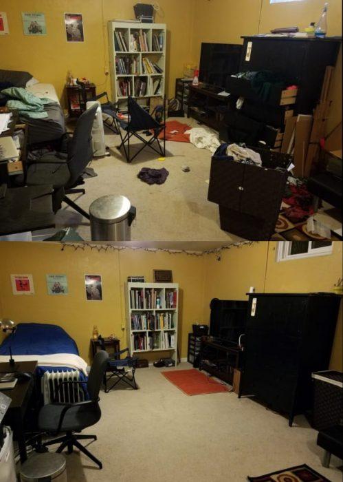 Imágenes de cuartos desordenados antes y después; dormitorio con tiradero; habitación ordenada