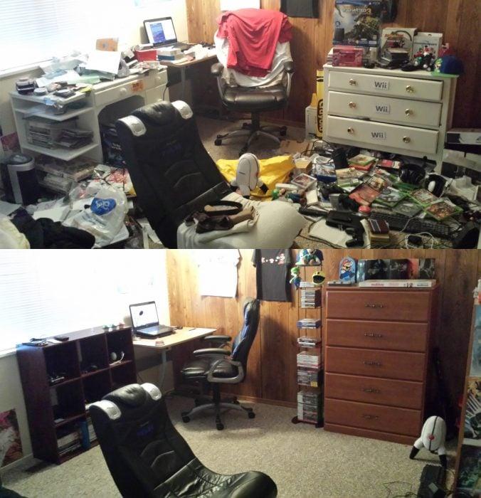 Imágenes de cuartos desordenados antes y después; oficina sucia con tiradero, videojuegos en el suelo y ropa apilada en la silla; habitación ordenada con cada cosa en su lugar