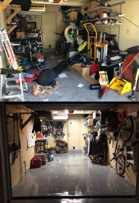 Imágenes de cuartos desordenados antes y después; cochera sucia con cosas fuera de su lugar; habitación limpia