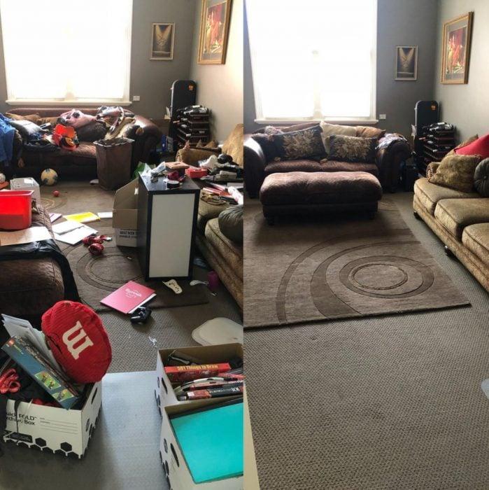 Imágenes de cuartos desordenados antes y después; sala de estar caótica y sucia; habitación limpia y espaciosa