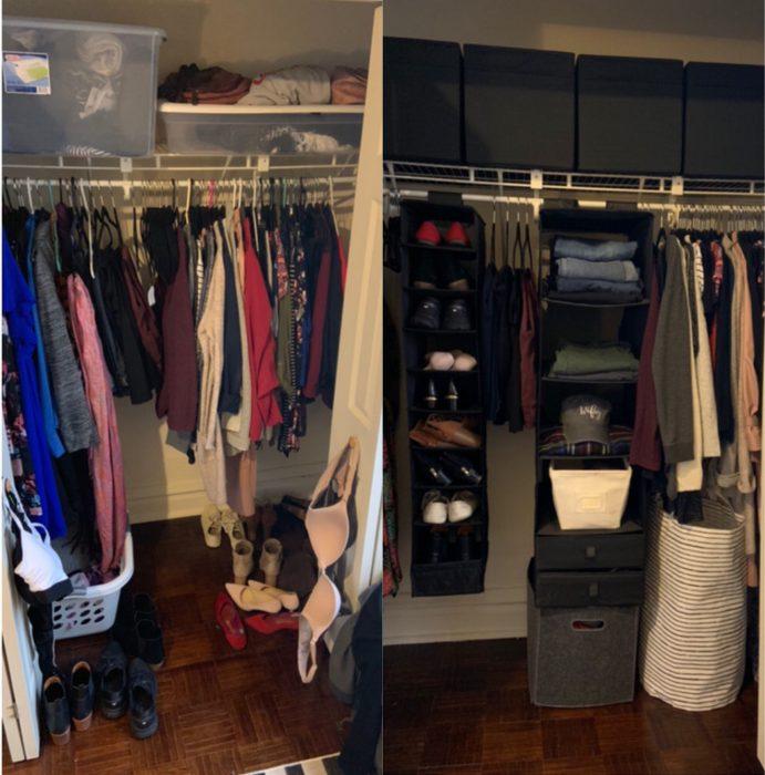Imágenes de cuartos desordenados antes y después; clóset en desorden con ropa amontonada; armario ordenado y limpio