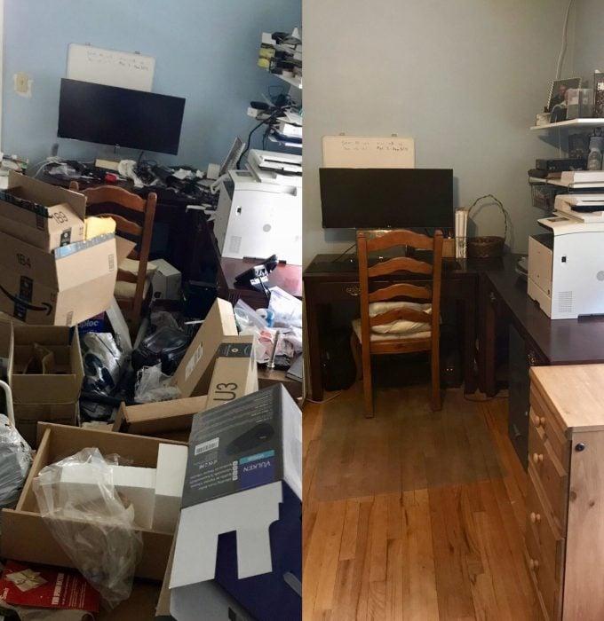 Imágenes de cuartos desordenados antes y después; oficina con cajas amontonadas; habitación limpia
