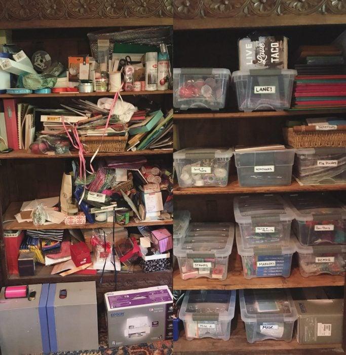 Imágenes de cuartos desordenados antes y después; repida desordenada con papeles, libretas y plumas desordenadas; vitrina limpia con cajas para categorizar