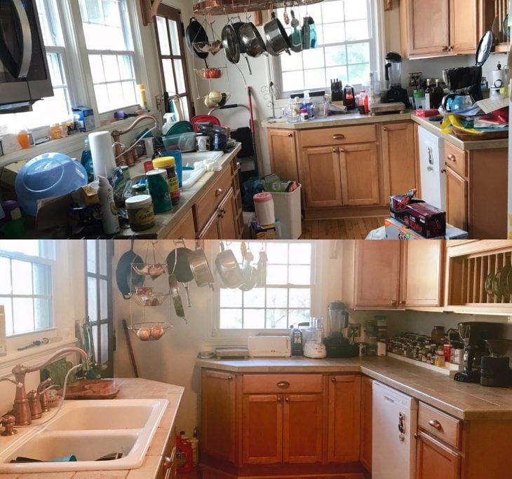 Imágenes que muestran el antes y después de una cocina desordenada y después de hacer la limpieza