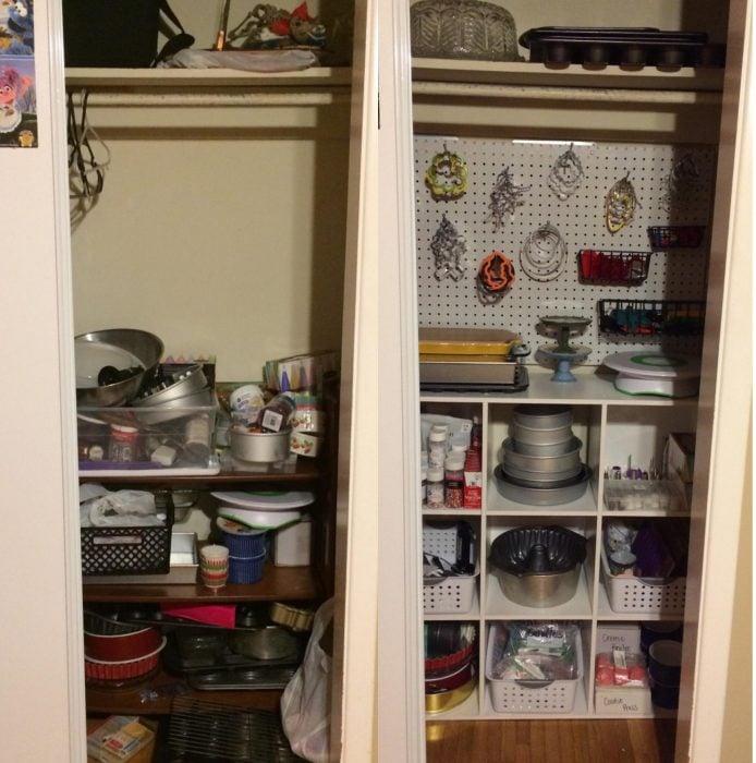 Imágenes de cuartos desordenados antes y después; alacena con trastes amontonados; repisa con utensilios de cocina en orden y guardados por categorías