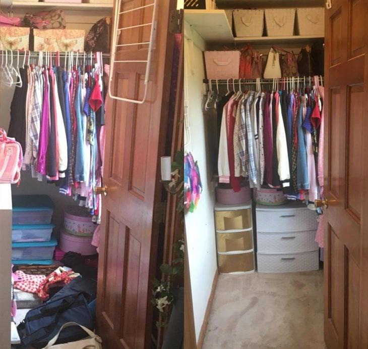 Imágenes de cuartos desordenados antes y después; clóset desordenado y con ropa en el suelo; armario ordenado y espacioso