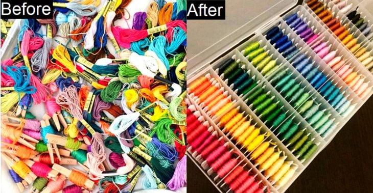 Imágenes de cuartos desordenados antes y después; hilos para tejer de colores sin orden y reburujados; hilaza en carrete y ordenadas por colores
