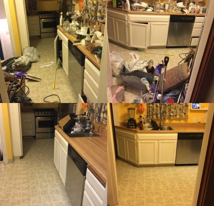 Imágenes de cuartos desordenados antes y después; cocina desordenada y tirada con trastes sucios; habitación para comer ordenada y limpia