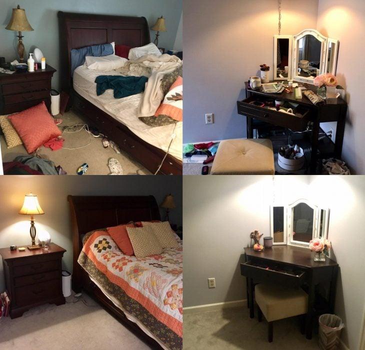 Imágenes de cuartos desordenados antes y después; dormitorio con cama destendida y ropa en el suelo; habitación limpia