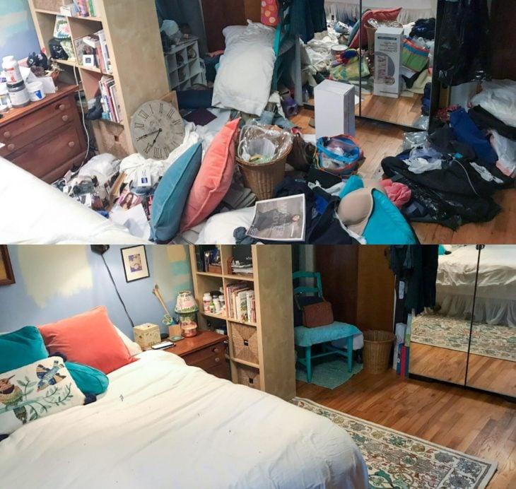 Imágenes de cuartos desordenados antes y después; dormitorio con ropa y objetos en el suelo; habitación de jóvenes limpia y ordenada