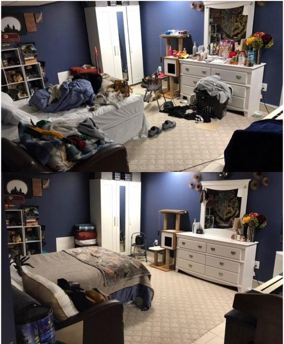 Imágenes de cuartos desordenados antes y después; dormitorio sucio y con ropa tirada; habitación ordenada con cada cosa en su lugar