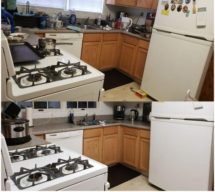Imágenes de cuartos desordenados antes y después; cocina sucia se convierte en una habitación limpia