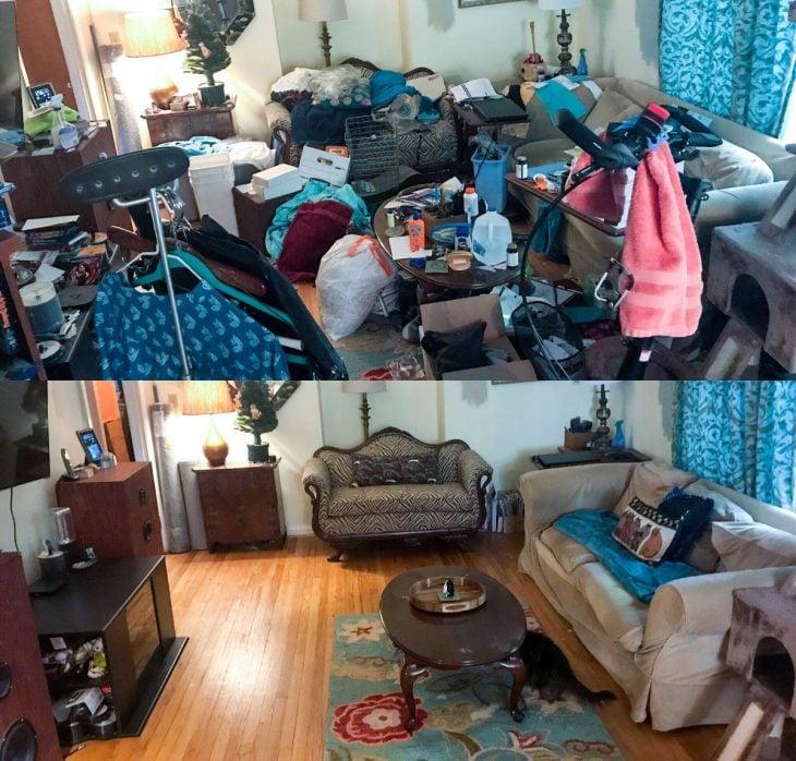 Imágenes de cuartos desordenados antes y después; sala de estar de un acumulador compulsivo después de ser limpiada y ordenada