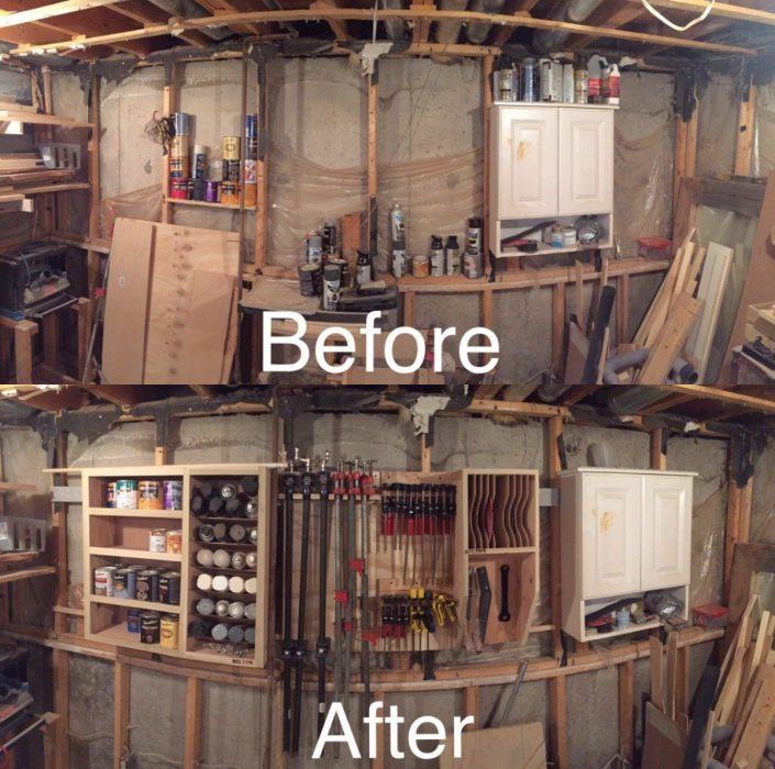 Imágenes de cuartos desordenados antes y después; taller sucio y con herramientas ordenadas en su lugar