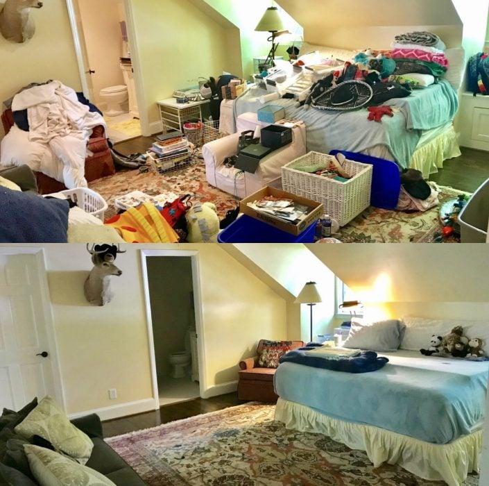 Imágenes de cuartos desordenados antes y después; habitación tirada, cama con ropa y suelo con libros y objetos; dormitorio limpio con cabeza de venado
