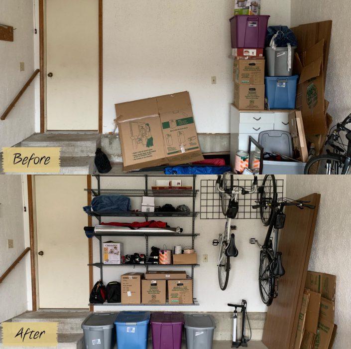 Imágenes de cuartos desordenados antes y después; cochera desordenada y sucia; después puesta en orden y limpia