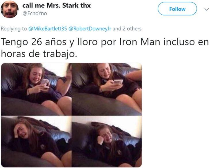 Papá comparte en Twitter que su hijo lloró hasta dormirse abrazado de sus juguetes de Iron Man después de ver la muerte de Tony Stark en Avengers: Endgame; meme de niña que llora en el sillón viendo su celular