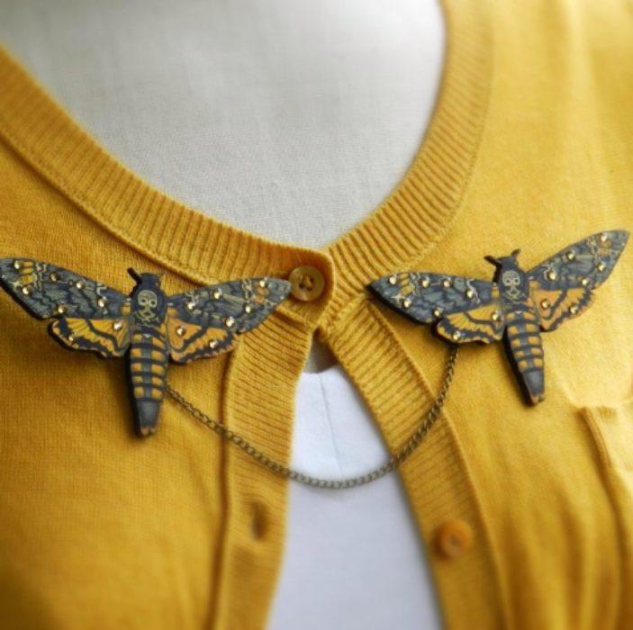 Collar tips; broches para cuello de camisa; polilla esfinge de la calavera africana de película El silencio de los inocentes