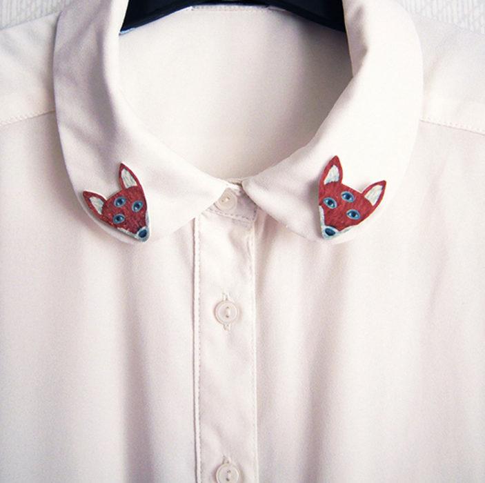 Collar tips; broches para cuello de camisa; zorro de tres ojos