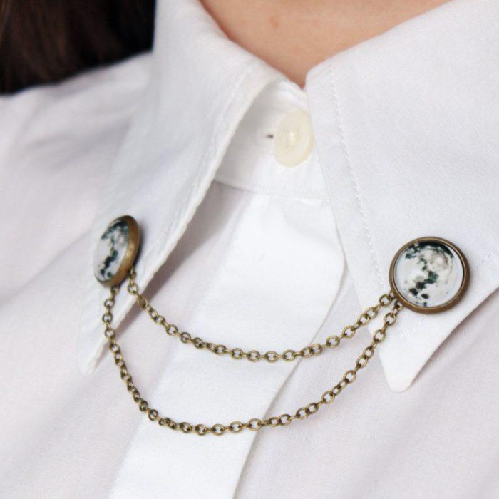 Collar tips; broches para cuello de camisa; pin de luna