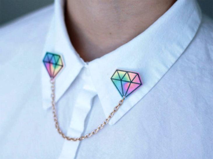 Collar tips; broches para cuello de camisa; pin de diamantes de colores rosa, amarillo, anaranjado, verde, azul y morado, con cadena