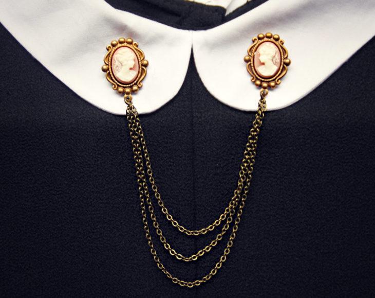 Collar tips; broches para cuello de camisa; pin de camafeo con cadenas doradas