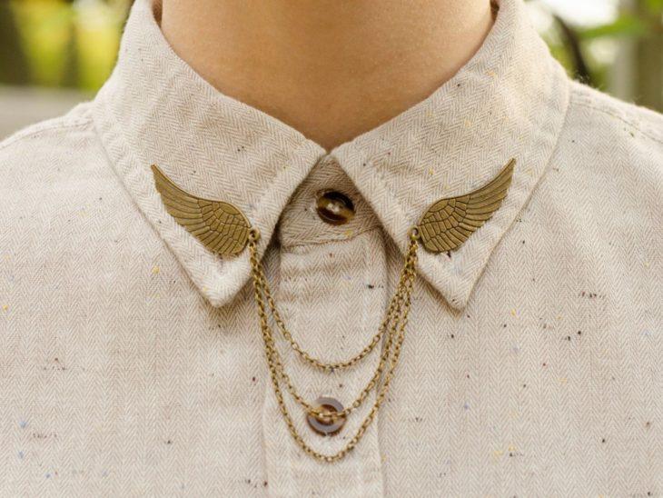 Collar tips; broches para cuello de camisa; pin de alas de la snitch dorada de Harry Potter