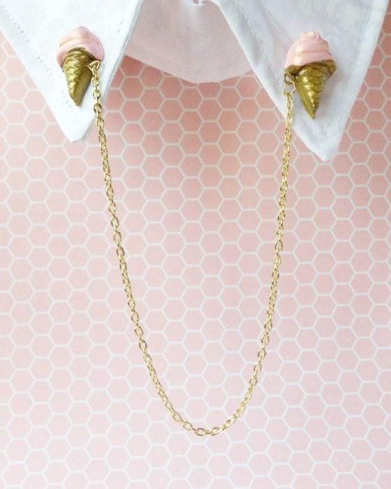 Collar tips; broches para cuello de camisa; helados de fresa con cadena dorada