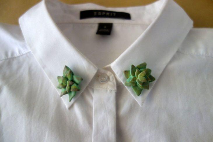 Collar tips; broches para cuello de camisa; suculentas