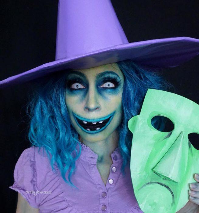 Brenna Mazzoni maquillada como Barrel de El extraño mundo de Jack