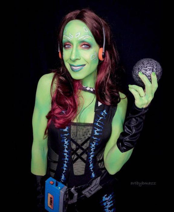 Brenna Mazzoni maquillada como Gamora