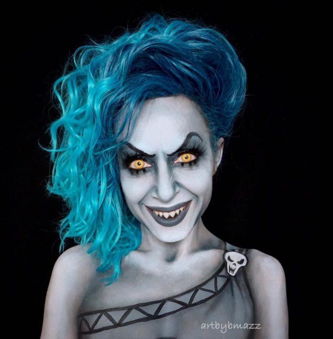 Brenna Mazzoni maquillada como Hades, Hércules
