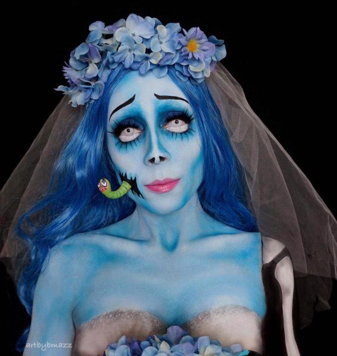 Brenna Mazzoni maquillada como Emily de El cadaver de la novia