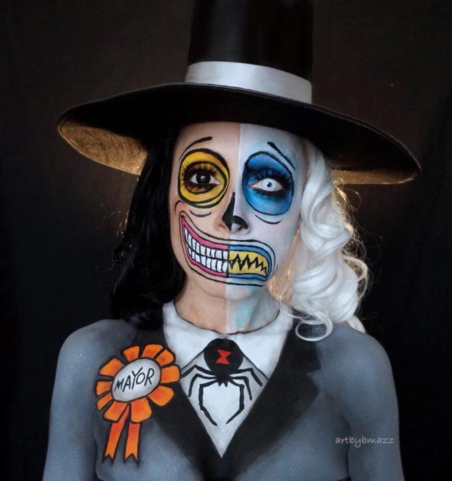 Brenna Mazzoni maquillada como el Alcalde de El extraño mundo de Jack