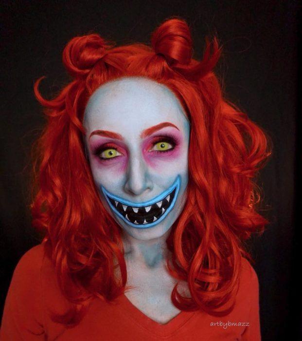 Brenna Mazzoni maquillada como Lock de El extraño mundo de Jack