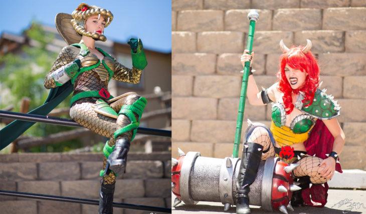 Chica vestida de cosplay de dos personajes diferentes. Serpentor y Browser de Mario Bros