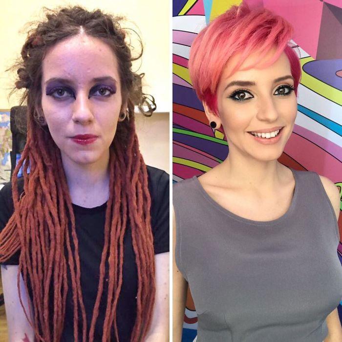 Mujer con rastas y con cabello corto; antes y después de maquillarse