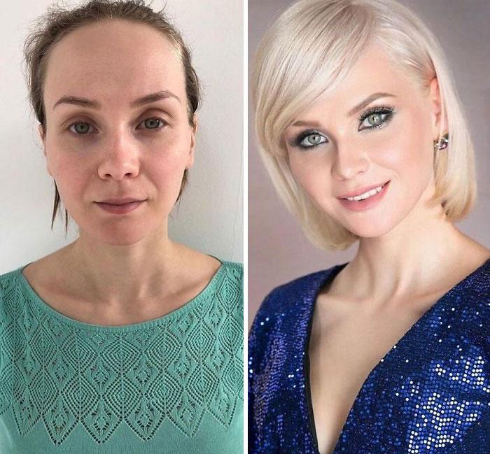 Mujer con blusa verde y blusa azul siendo comparada antes y después de ser maquillada