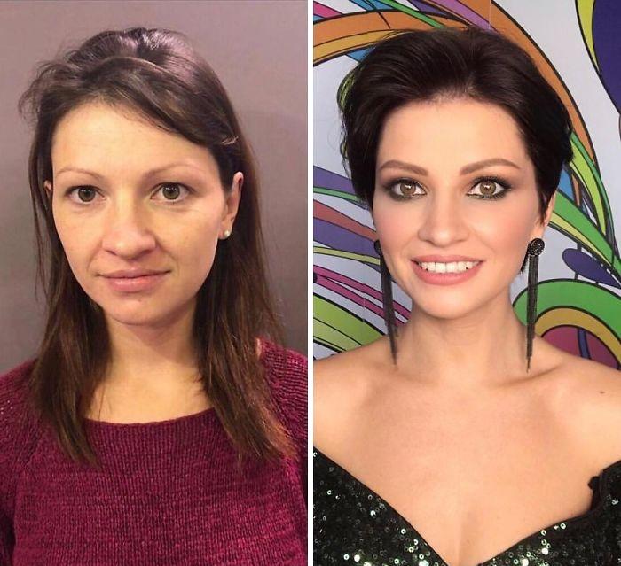 Chica con blusa color vino y vestido escotado negro siendo comparada antes y después de ser maquillada