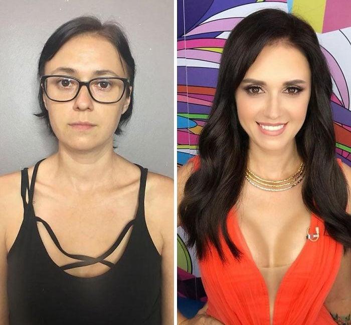 Mujer con blusa de tirantes negros y vestido escotado color naranja siendo comparada antes y después de ser maquillada