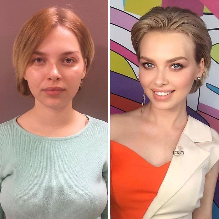 Mujer de cabellera corta usando blusa azul y vestido rojo antes y después de maquillarse