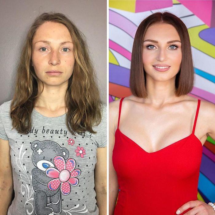 Mujer con blusa gris y vestido rojo siendo comparada antes y después de ser maquillada
