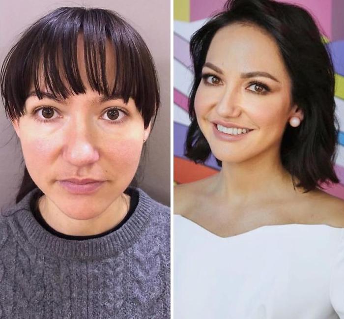 Mujer con blusa gris y blusa blanca siendo comparada antes y después de ser maquillada