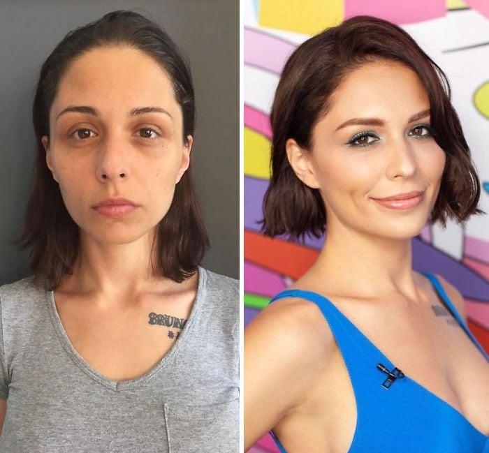 mujer con blusa grisa y blusa de tirantes azul rey siendo comparada antes y después de ser maquillada
