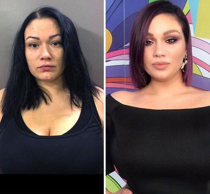 Mujer usando ropa oscura siendo comparada antes y después de ser maquillada