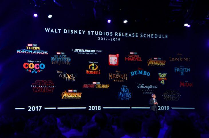 Presentador de Disney anunciando las películas que se verán en los siguientes 7 años