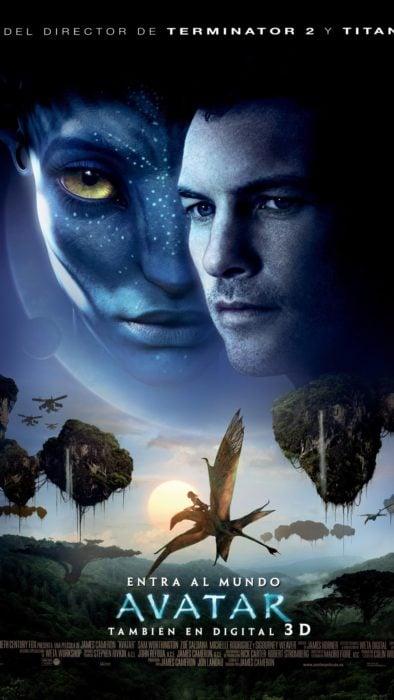 Poster de la película Avatar con escenas de la película y los personajes principales