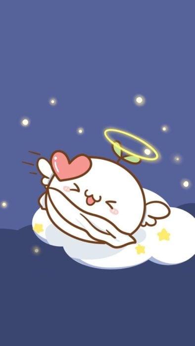 Fondos de pantalla Kawaii con un ángel redondo llevando un corazón