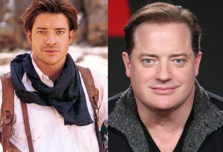 Brendan Fraser a la derecha interpretando a Rick O'connell en la película La Momia. A la izquierda dando una entrevista en un foro de Netflix